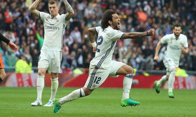 Marcelo celebra un gol. Conoce las cuotas del Celta de Vigo vs Real Madrid