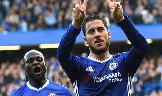 Hazard celebra un gol con los Blues. Conoce las cuotas del Tottenham vs Chelsea.