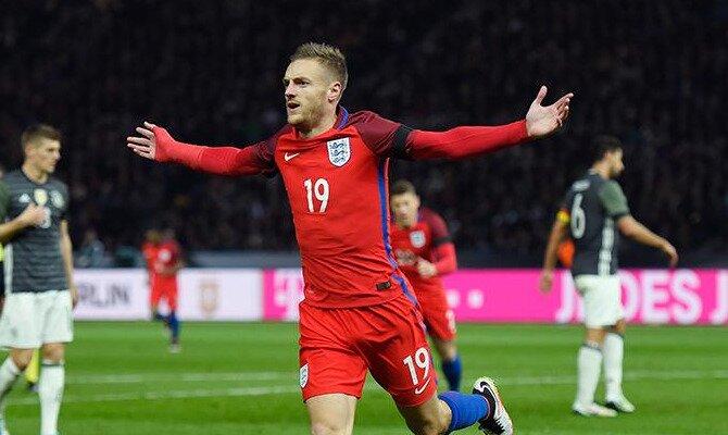 Vardy celebra un gol con la selección inglesa. Conoce las cuotas del Inglaterra vs Alemania.