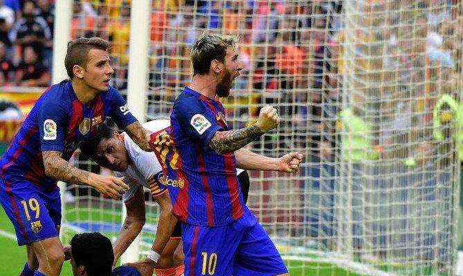 Messi celebra un gol con rabia. Conoce las cuotas del FC Barcelona vs Levante UD.