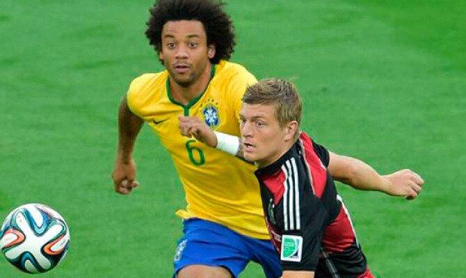 Marcelo y Kroos disputan un balón. Conoce las cuotas del Alemania vs Brasil.