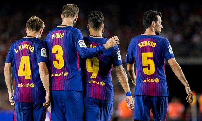 Suárez, Piqué, Rakitic y Busquets se retiran de un juego. Mira las cuotas del Roma vs FC Barcelona.