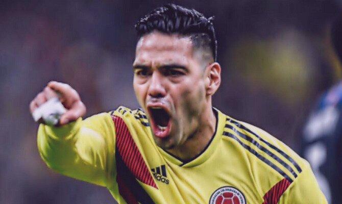 Falcao celebra un gol con su selección. Conoce las cuotas del Polonia vs Colombia.