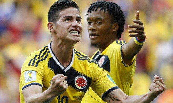 James Rodríguez celebra un gol con Cuadrado de fondo. Conoce las cuotas del Colombia vs Inglaterra.