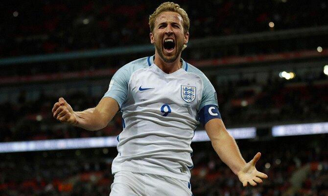 Harry Kane festeja un gol con Inglaterra. Conoce las cuotas del Suecia Vs Inglaterra.