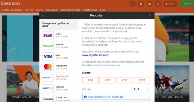 Depositar con Paysafecard