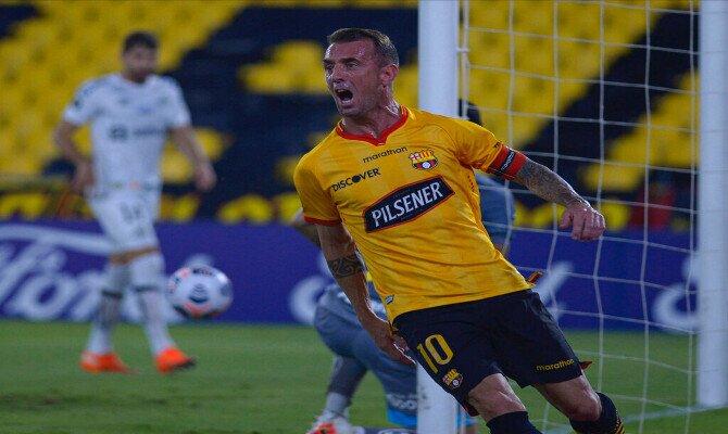 Imagen de Damian Díaz celebrando un gol. Cuotas Supercopa de Ecuador, Barcelona vs Liga de Quito.